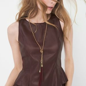 NWT Burgundy & Gold Chain Lariat Necklace